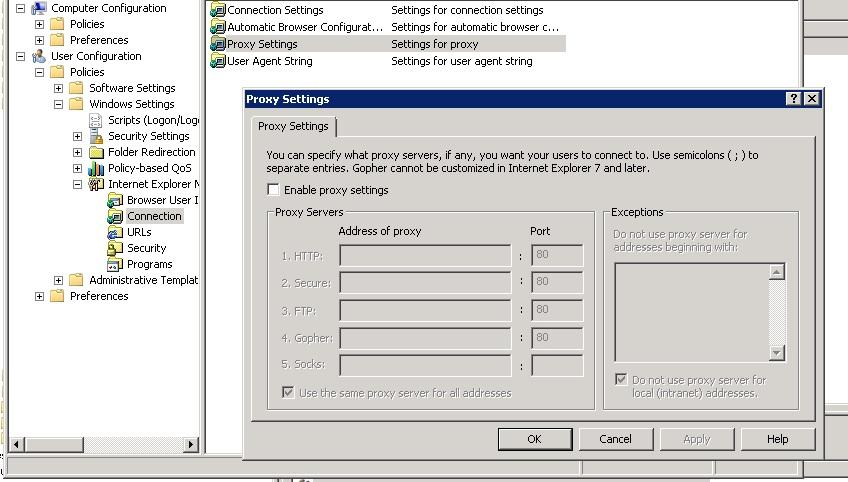 Proxy settings windows 10 gpo