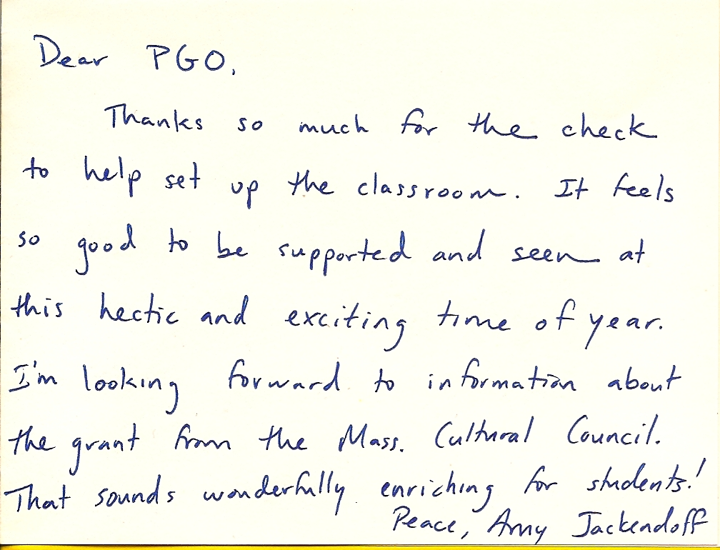 Fort River PGO Thank-You Notes from Fort River Teachers