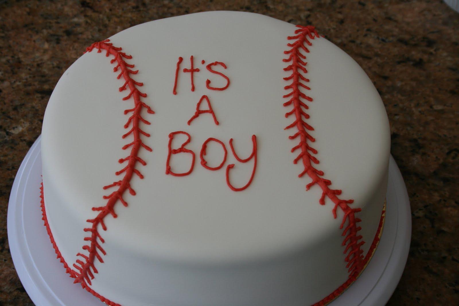 B The Baker Baseball Themed Baby Shower Cake