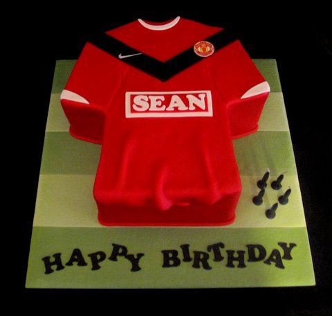 Football Birthday Cakes on Cakes   Cupcakes By Sam   Manchester United Shirt For Sean