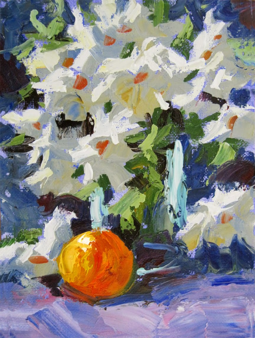 TOM BROWN FINE ART: FRUIT & FLOWERS PALETTE KNIFE PAINTING BY TOM BROWN