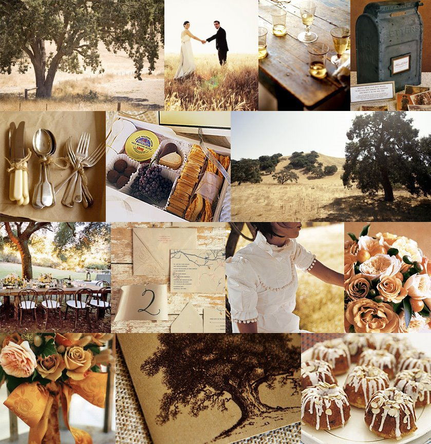 360 east of eden california tan oak trees green gold summer rustic wedding inspiration board - Country Wedding Ideas For Fall
