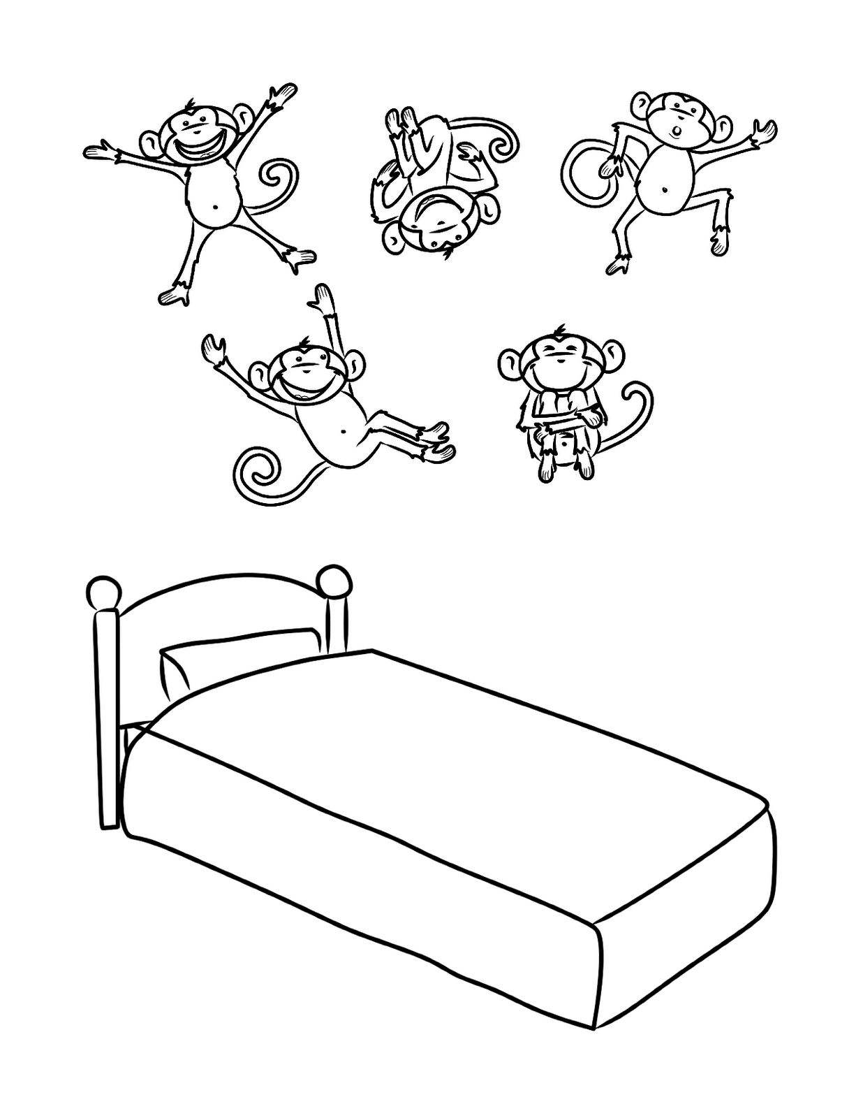 five little monkeys jumping on the bed coloring pages 5 little monkeys