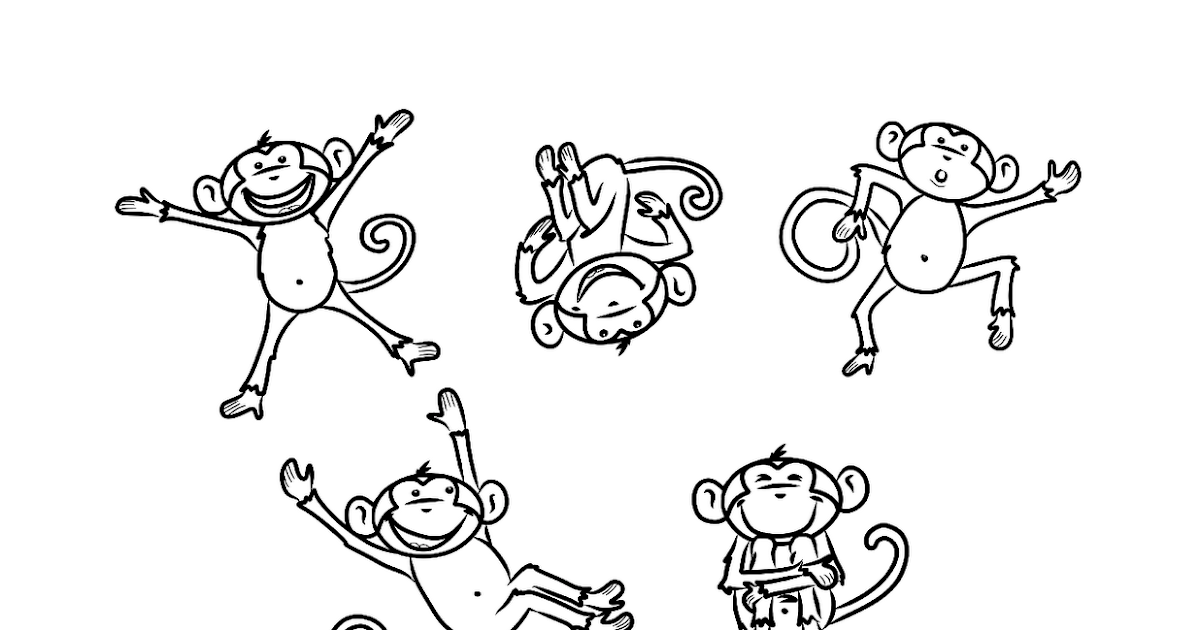 Five little monkeys coloring pages for Five little monkeys jumping on the bed coloring pages