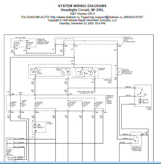 repairmanuals: 1997 Honda CRV Wiring Diagram