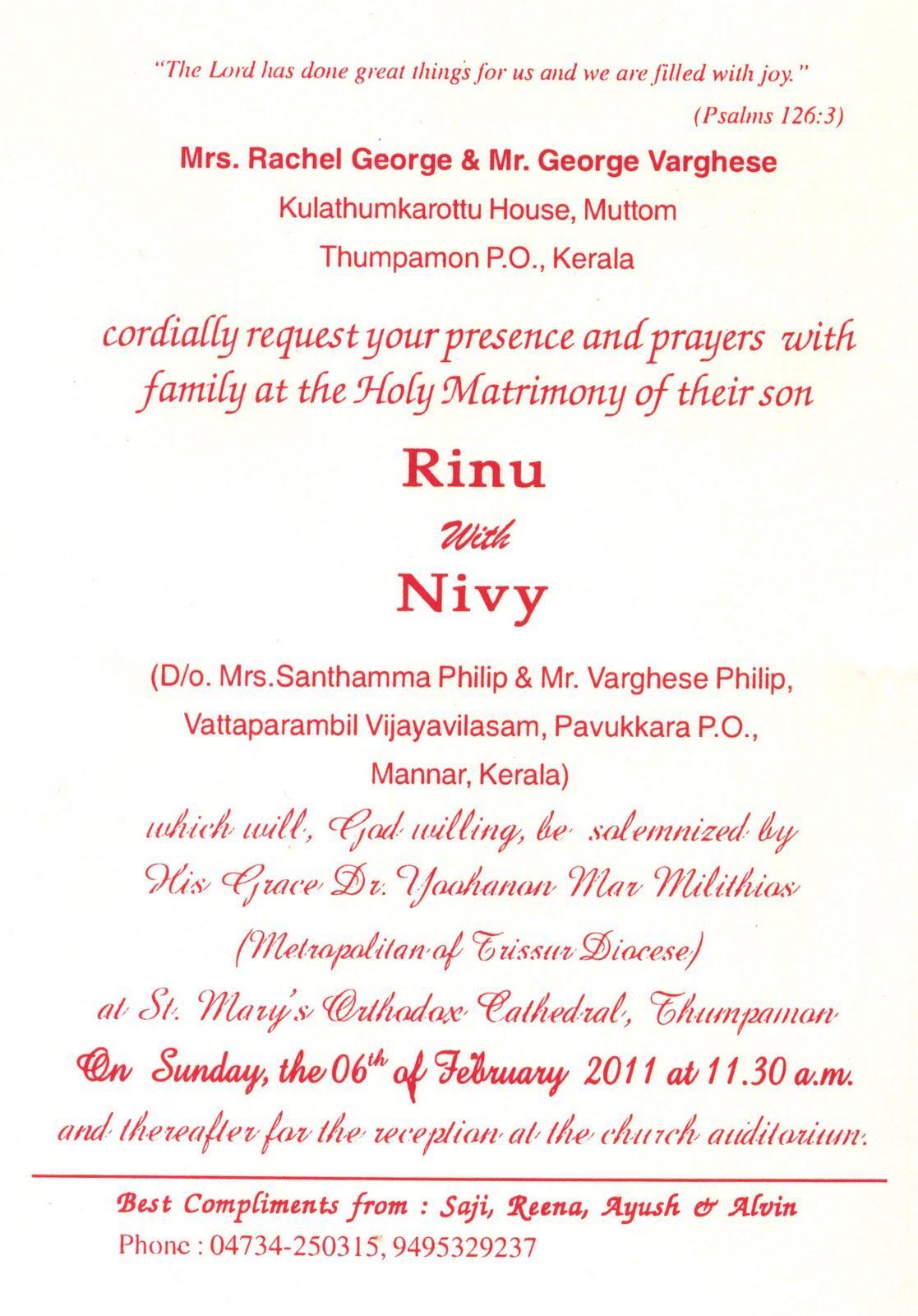 Wedding Invitation Card Matter