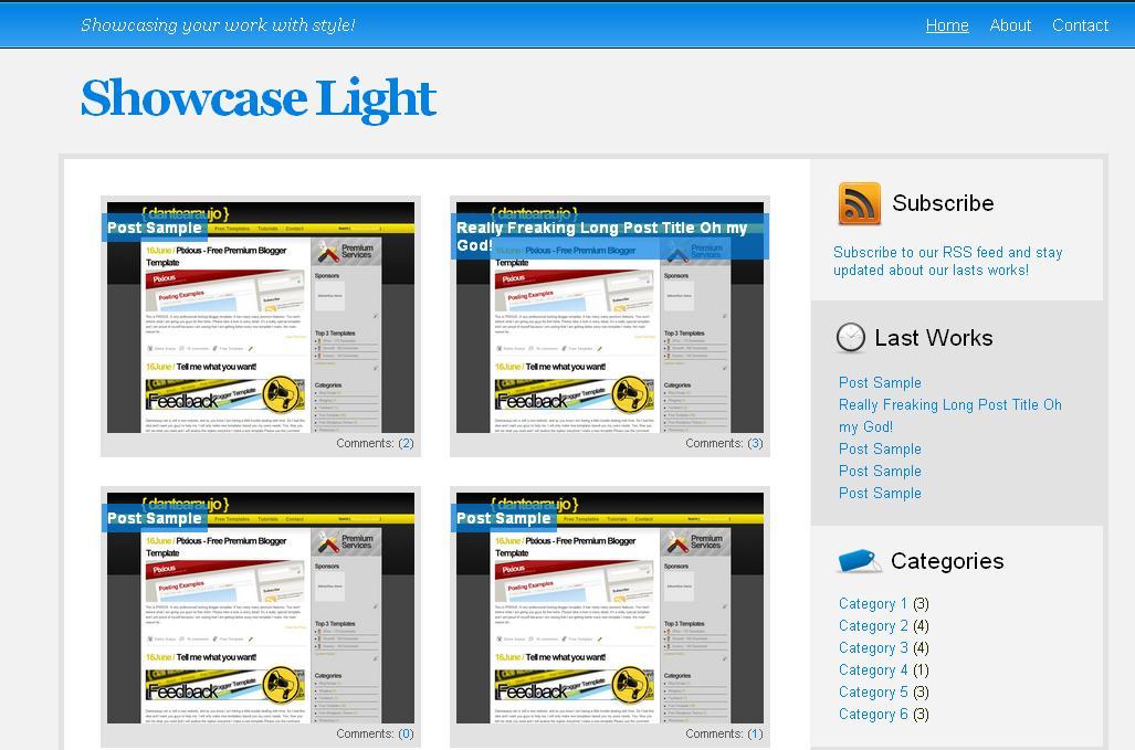 Free Blogger Template Showcase Light | Free Blogger ...