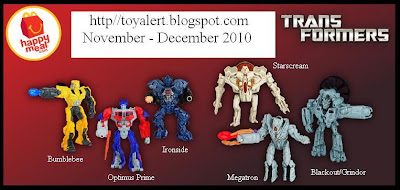 McDonalds Transformers Happy Meal Toys 2010 - Megatron, Bumblebee, Optimus Prime, Ironhide, Blackout (Grindor) and Starscream
