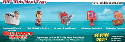 Burger King Gullivers Travels Kids Meal Toys - Set of 6 Toys - Roll 'n Bobble Gulliver, Knotfersail Steering Gulliver, Edward's Robot Reveal, Gulliver's Travel Log, Lilliputian Basketball, Blefuscian Armada Ship