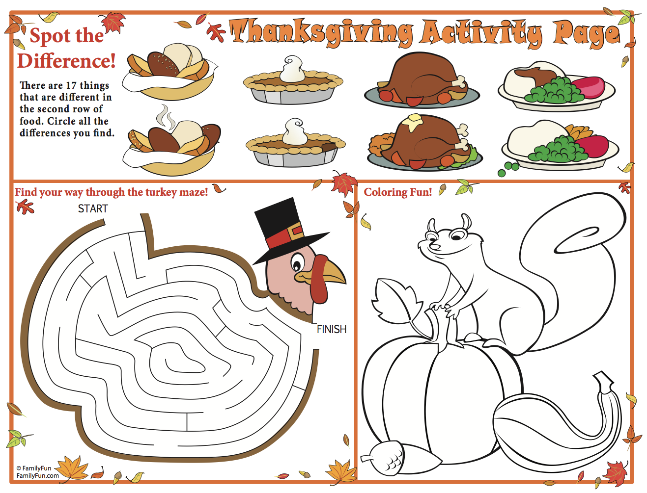 Thanksgiving Printable Placemats For Kids
