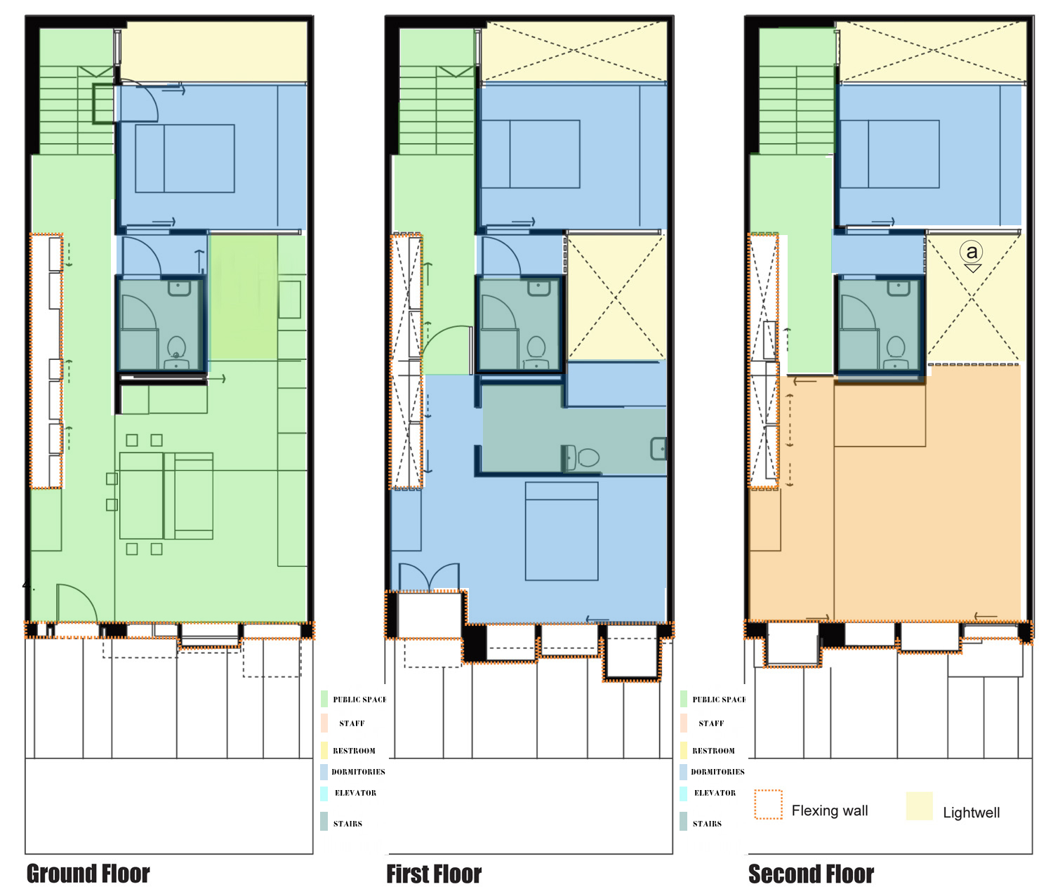 Fernando Méndez: STUDY OF SPACES+ FLOOR PLANS COLOR CODED