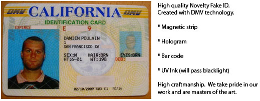 Fake Mcluvin's Id novelty California Id