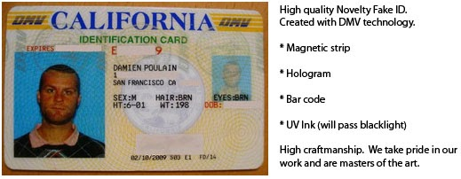 McLuvin's California Fake/Novelty ID: McLuvin's California Fake