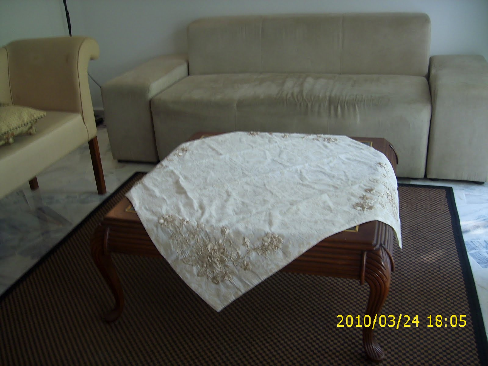 Living Colours: Ribbon Embroided Coffee Table Cloth