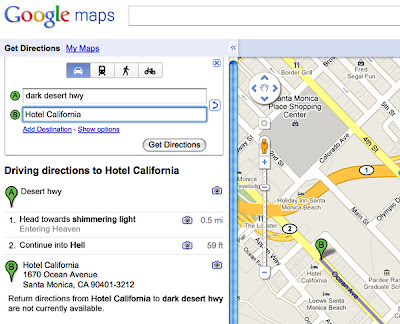 Geographic Travels: Songs Lyrics as Google Maps Directions on