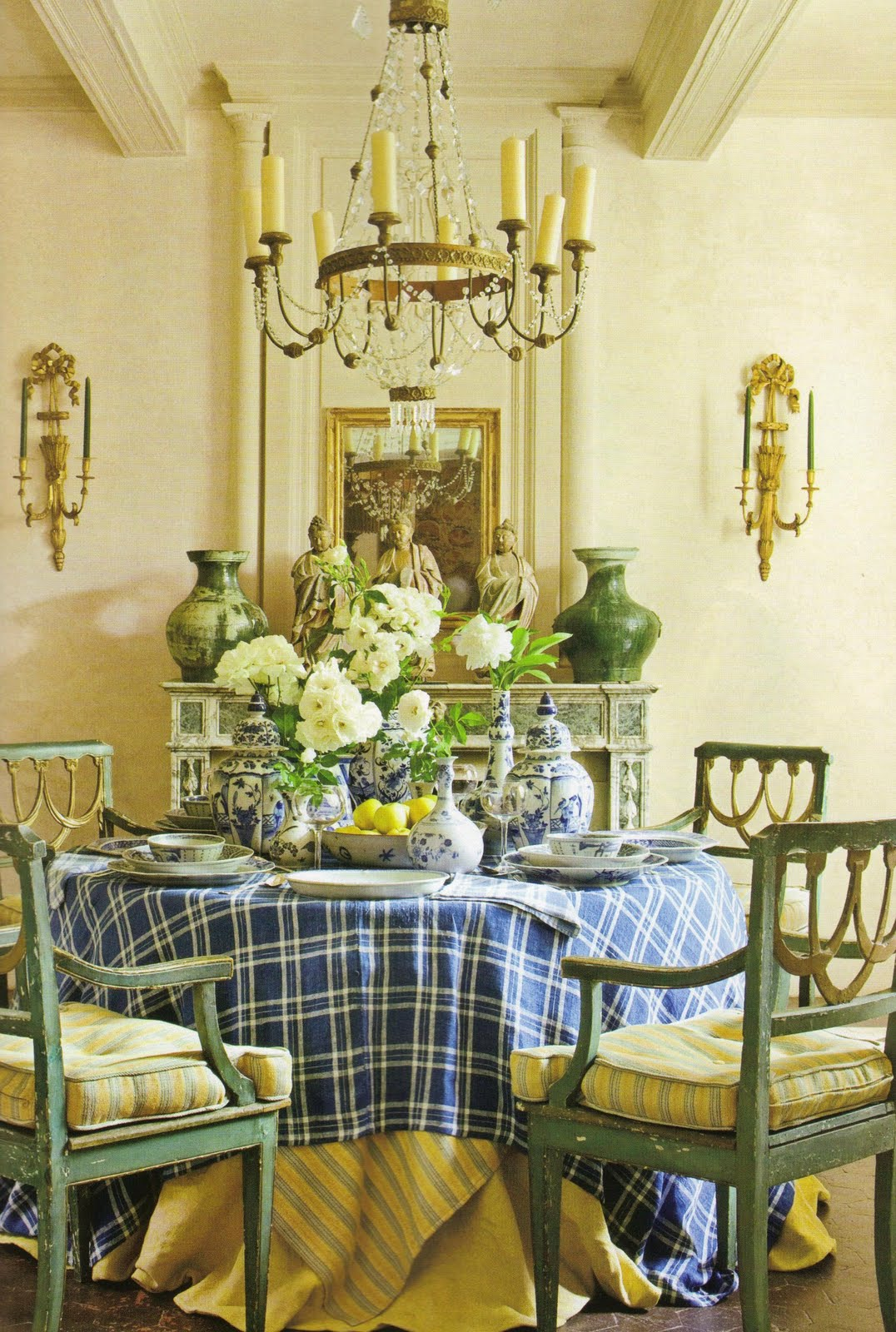Blue and Yellow French Country Dining Room