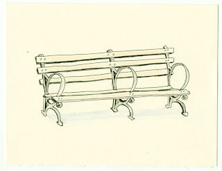 Paintings Drawings Park Bench Pen And Colored Pencil