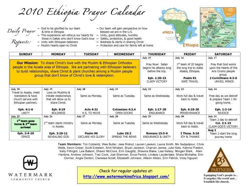 Making His Name Known Among the Nations-AFRICA Prayer Calendar