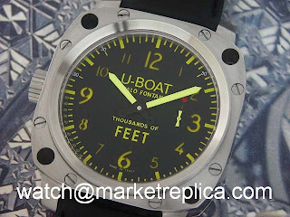 f6f5b315ab7 U-Boat Thousand Feet replica SS Black Amber the replica U-Boat watch Made  with a Genuine as sample with Asia 6497 movement