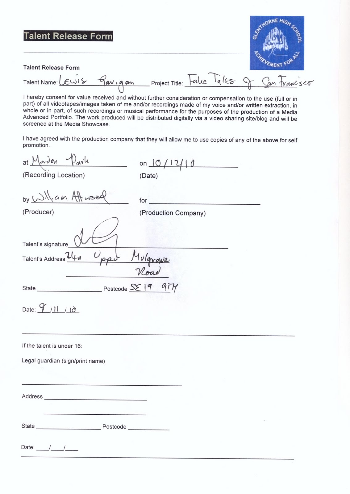 Liability Release Form Q 1 – General Liability Waiver Form
