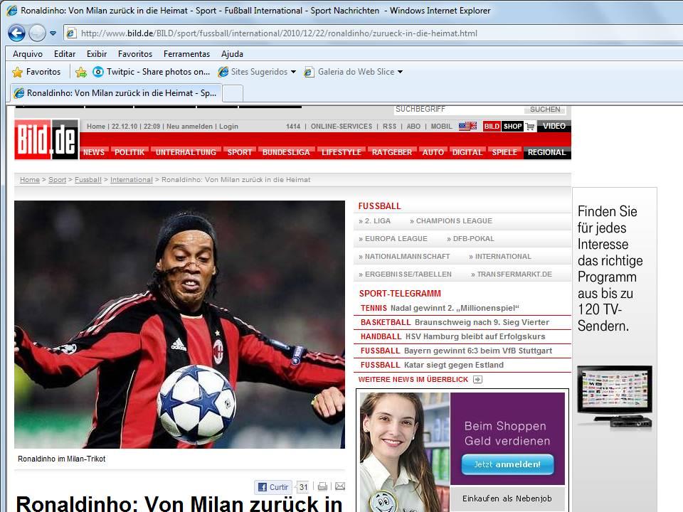 5686b507c8d8d Ronaldinho e o Grêmio no Bild da Alemanha