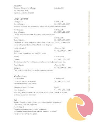 Piña Colada Designs Layout of Resume