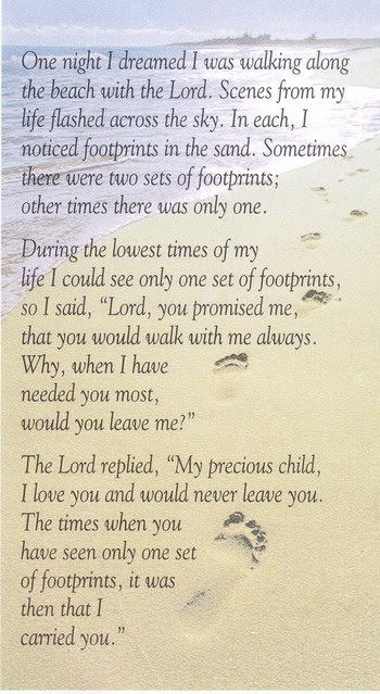 This is a graphic of Footprints in the Sand Poem Printable with inspirational