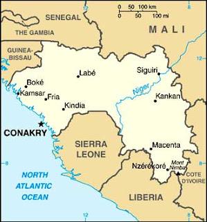 Afrika Karta Guinea.Spilpunt Guinea