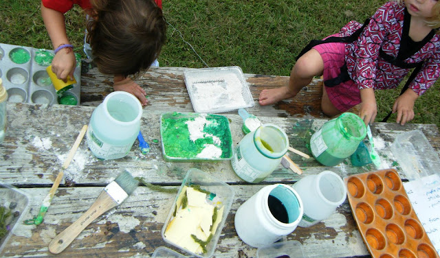 let the children play mixing potions messy play with preschoolers