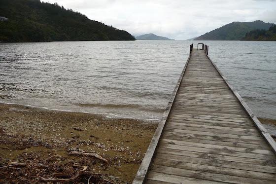 Así se ve el pequeño muelle desde la orilla en Picton