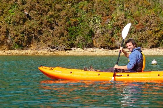 Aquí estoy yo en el Kayak en Picton