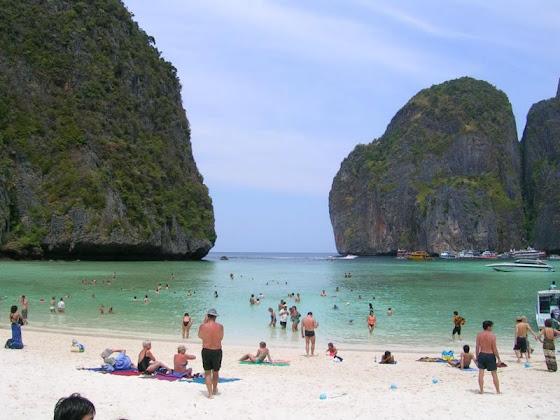 El lugar donde se filmó la película la playa en Tailandia
