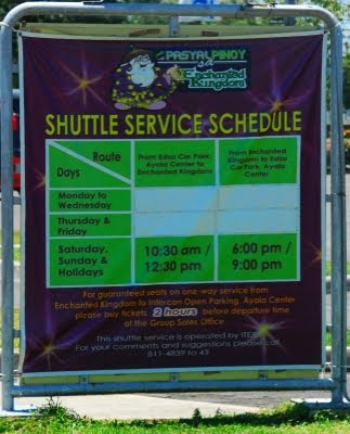enchanted kingdom shuttle service schedule