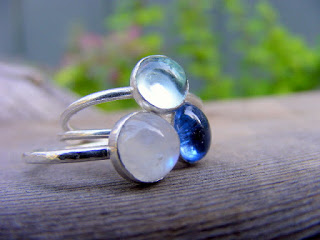 rainbow moonstone, swiss topaz,kyanite stacking ring