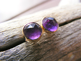 faceted purple amethyst gold filled post earrings
