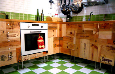 R3project Kitchen Cupboards Made From Recycled Wine Boxes