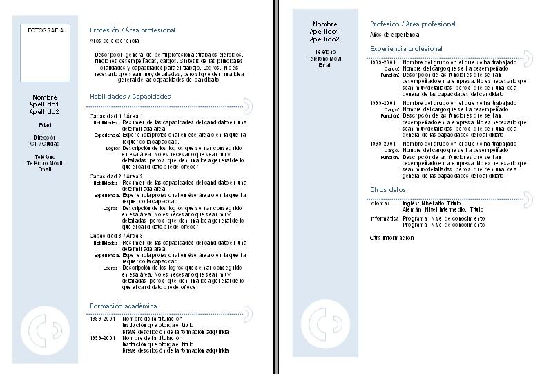 Plantillas Curriculum Vitae Combinados Curriculums Vitae
