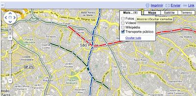 Novamente atualizado Google Maps mostra linhas de metrô e trens