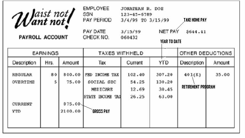 Salary Pay Stub Template slip pay stub template 7 free word pdf – Pay Stub Format