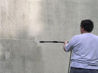 powerwashing the house