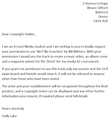 A2 Media Coursework my choice of song and permission letter