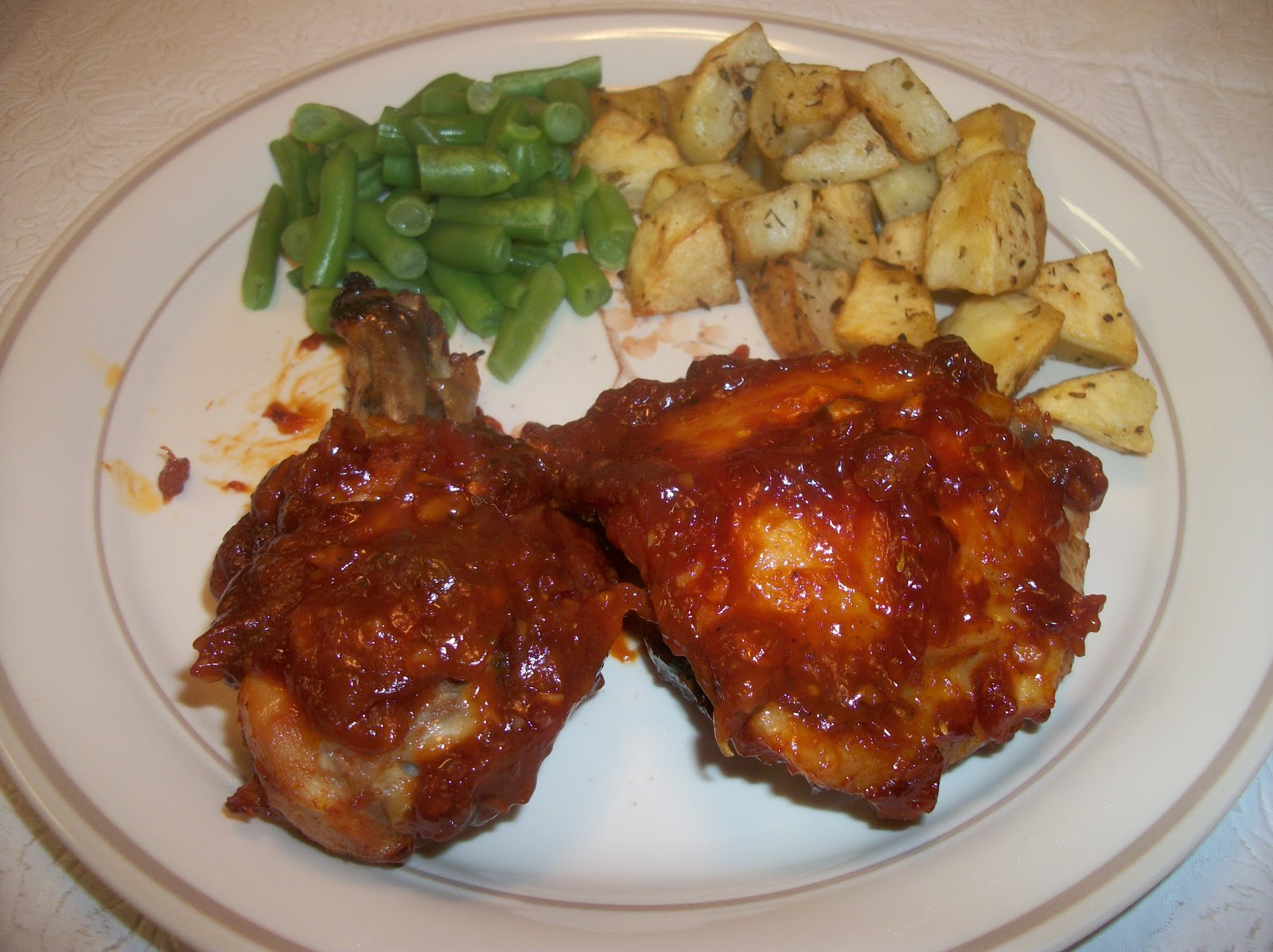 Six Worlds Of Cooking Bbq Chicken With Green Beans Amp Roasted Potatoes