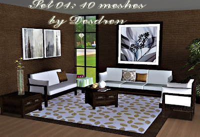 My Sims 3 Blog: New Living Room Set by Desdren - 10 Meshes