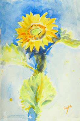 watercolour of leaping sunflower