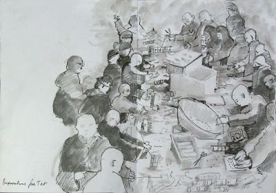 pen & ink drawing of peopel making earth cakes for Tet