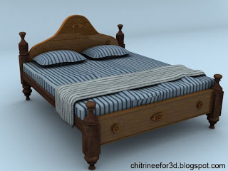 Chitrinee Creations Double Cot Free 3d Model