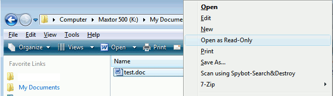 A Consuming Experience: Open Word document as read-only (one