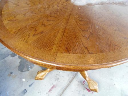 Re-stained and Painted White Oak Pedestal Table And Chairs & Remodelaholic | Re-stained and Painted White: Oak Pedestal Table And ...
