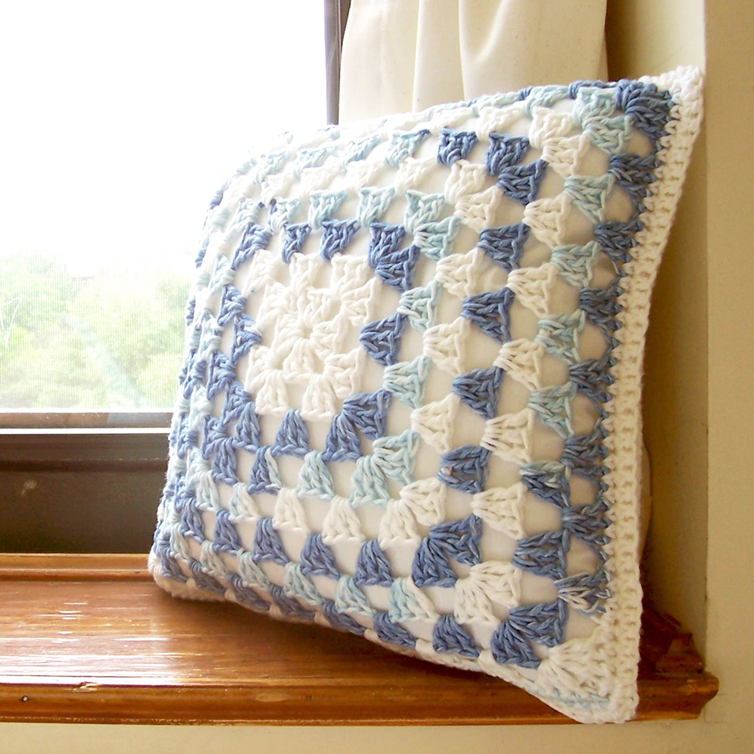 Mill girl granny square pillow cover
