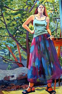 Self portrait  oil painting in my backyard